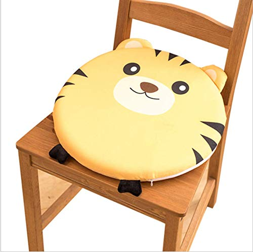 DUIPENGFEI Lovely Memory Foam Dining Chair Cushion Bedroom Round Seat Cushion Universally removable and washable in all seasons, 39 * 39cm, Little Tiger