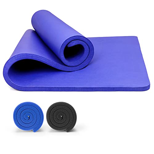 PROIRON Pilatesmatta halkfri motion yogamatta 15 mm extra tjock skummatta gym fitnessmattor för...
