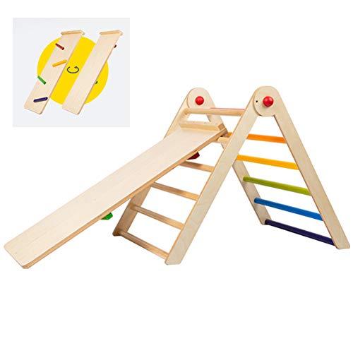 YQZ Marcos de Escalada de Madera para niños, toboganes de Doble Cara, Marco de Escalada de Escalera de Abedul Triangular Plegable, Juguetes de Interior para niños pequeños