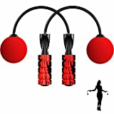 Indoor Cordless Jump Rope for Women: Adjustable Tangle-Free Ropeless Speed Skipping Rope for Workout Crossfit MMA Gym Weighted Bod Jumprope Fits Tall Men or Short Kids (Black-Red)