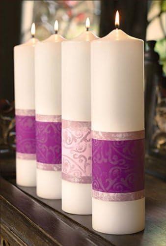 Candle - Advent Pillars All items free shipping Emmanuel 3 x Pnk 1 12 Portland Mall Purp