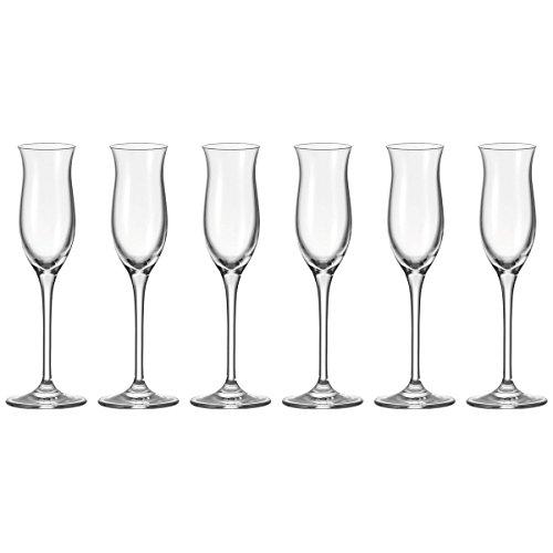 Leonardo Cheers Grappa-Gläser 6er Set, spülmaschinenfeste Digestif-Gläser, Schnaps-Glas mit gezogenem Stiel, Likör-Gläser Set 9 cl, 90 ml, 061703