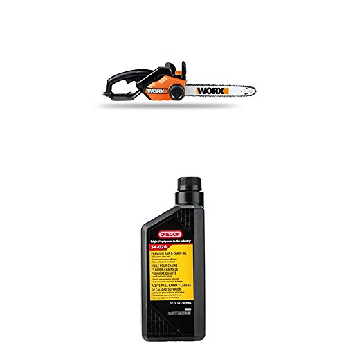 WORX 16-Inch 14.5 Amp Electric Chainsaw with Auto-Tension, Chain Brake, and Automatic Oiling – WG303.1 WITH Oregon 54-026 Chain Saw Bar And Chain Oil - Quart