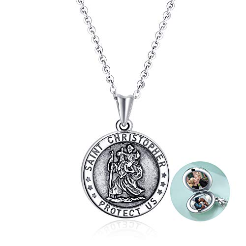 YFN Sterling Silver Saint Christopher Locket Necklace That Holds Pictures Keepsake Jewellery Gifts for Women Mum Wife Daughter