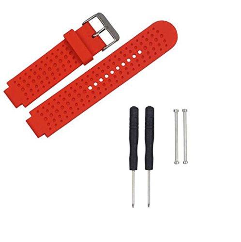 Sannysis Riemen für Garmin Forerunner 230/235/220 Silikon-Band mit Adapter und 2pcs Werkzeug (schwarz), 2016, rot