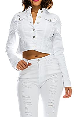 TwiinSisters Women's Basic Classic Casual Destroyed Button Down Denim Jacket - Size Small to 3X (XX-Large, White #Rjk884) from