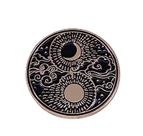 JONJUMP Sonne, Mond, Wolken, Sterne, Sonnenschein, Halbmond, Luna Yin Yang, Emaille, für Yoga, Balance, chinesisches Taoismus, Daoismus, Brosche Dekoration