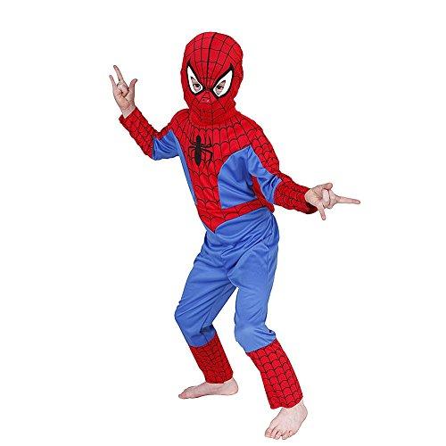 Unbekannt Kinderkostüm Spiderman Kostüm Kind, Verkleidung 3- teiliges Kostüm für Kinder (Large)