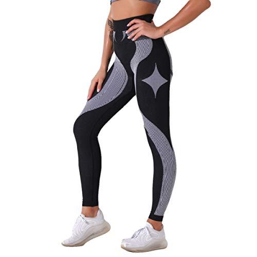 XYHJ Leggings Mujer Pantalones de Yoga a Rayas Otoño Primavera Leggings Deportivos Fitness Cintura Alta Push Up Gym Pantalones de Entrenamiento para Correr