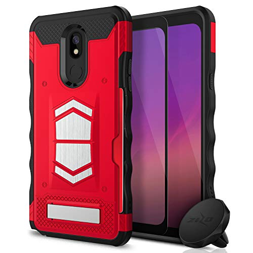 Zizo Electro Series Compatible with LG Stylo 5 with Tempered Glass Screen Protector, Air Vent Magnetic Holder Red Black