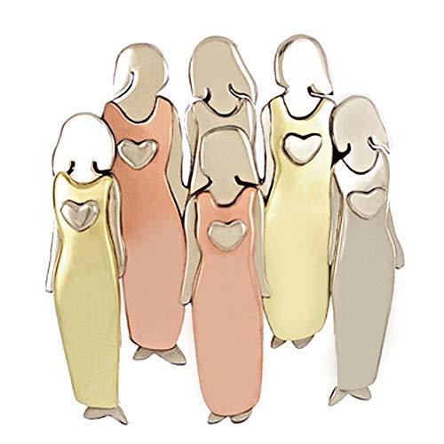 Duomu Broche de hermana con diseño único, broche tricolor, duradero de metal para niñas y mujeres, el mejor regalo