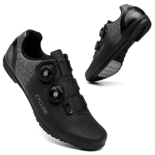 KUXUAN Calzado de Ciclismo Hombre Mujer - Calzado de Ciclismo de Carretera con Candados Calzado Deportivo Interior Exterior Transpirable Antideslizante,Black-7UK=(255mm)=41EU