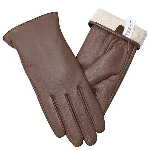 vislivin Gants Cuir Femme Mode Hiver Gants Tactile Plein Doigt Peau de Mouton Gants Femme Cadeau Brown XL