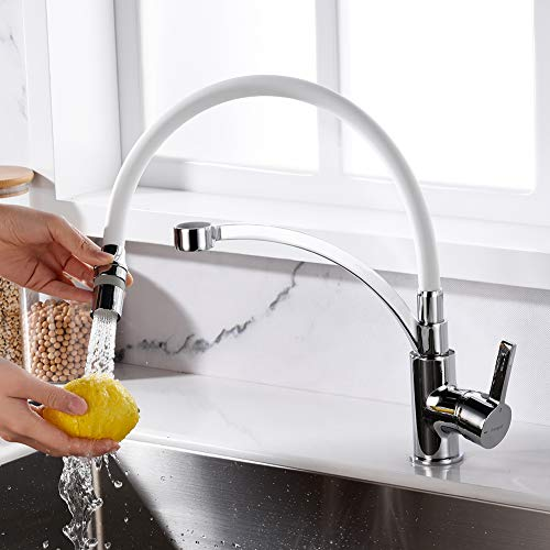 Ibergrif-M22129-3 Eengreeps wastafelarmatuur met draaibare sproeikop en 2 functies, keukenkraan met handdouche en flexibele uitloop, wit