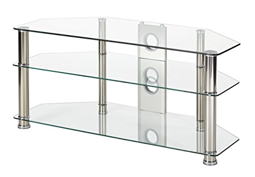 Clear glass tv stand 105cm wide chrome silver leg for 32 inch to 50 inch LCD LED smart tv screens