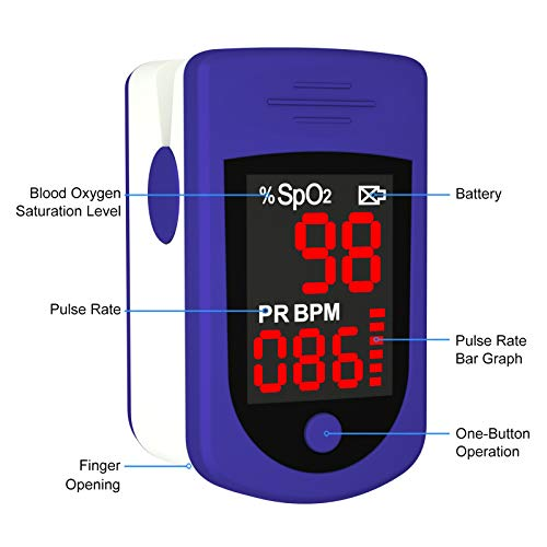 Pulse Oximeter Fingertip, Blood Oxygen Saturation Monitor for Pulse Rate and SpO2 Level, Suitable for Home, Exercise and Travel Use, Include Lanyard