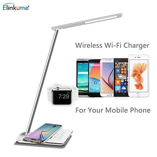 ELINKUME 5W Qi Schreibtischlampe Wireless Charging 48*4014 SMD LED Schreibtischlampe Modern Design 800LM Dimmbar Touch Schreibtischleuchten Flexibel Tischlampe