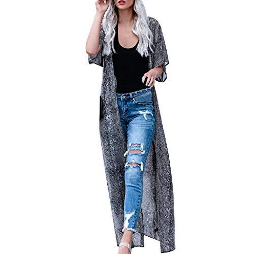 SUCES Damen Langarmshirt Sommer Retro Strand Kimono Bluse Bodenlang Schlange Drucken Lange Tops Bikini Cover Ups Bademode Kurzarm Strandhemd Strassenmode Loose Casual