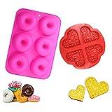 YIKEF Silicone Ciambelle Stampo, 2 Pezzi Silicone Donut Teglia Antiaderente, Senza BPA, Adatto per Lavastoviglie, Forno, Microonde, Freezer (Rose Red)