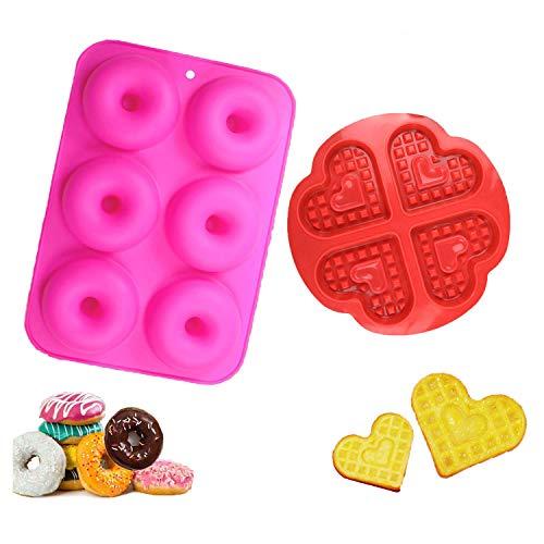 WELLXUNK Silikon Donut Formen und Waffelform Backform, Antihaft Donut Backform, Waffel Kuchenform Geeignet für Geschirrspüler, Backofen, Mikrowelle, Kühlschrank