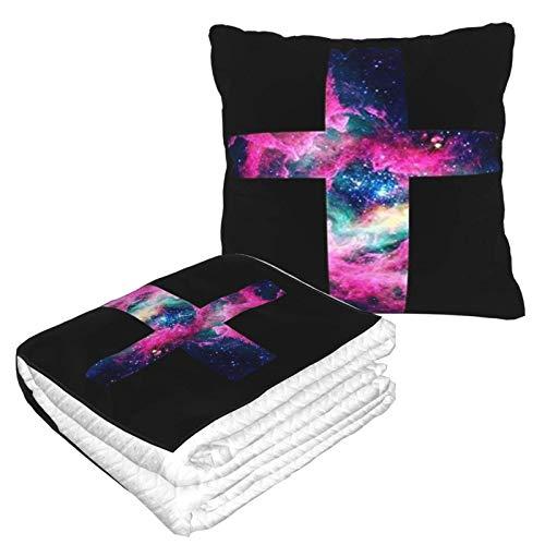 AEMAPE Manta de Almohada de Coche Cross Galaxy, Manta de sofá, Manta de Almohada de Viaje, cálida y Gruesa, Almohada de Cuello de Felpa de avión para Dormir
