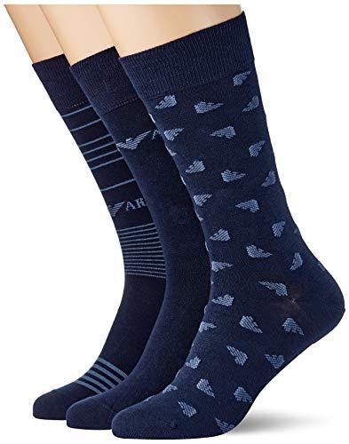 Emporio Armani Underwear Short Socks Set 3Pack Casual Set di 3 Calzini Corti, Blu Navy, Taglia unica Uomo
