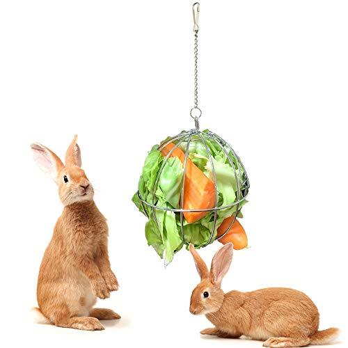 Hosdog Kaninchen-Haustier-Heu-Ball, hängender Ball Feeder Spielzeug, Edelstahl Heu Feeder mit Tür, geeignet für Hamster, Rennmäuse, Ratten, Chinchillas, Meerschweinchen, Huhn, 12 cm