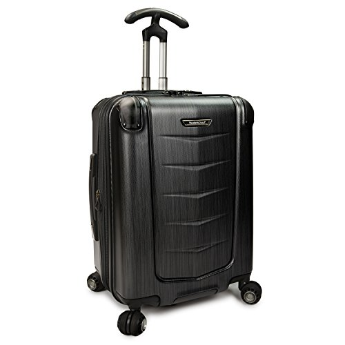 Traveler's Choice Silverwood Polycarbonate Hardside Expandable Spinner Luggage, Brushed Metal, Carry-on 21-Inch