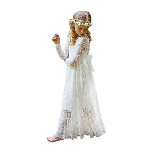 Fancy Ivory White Lace Flower Girl Dress Boho Rustic First Communion Gowns(Size 8,Ivory)