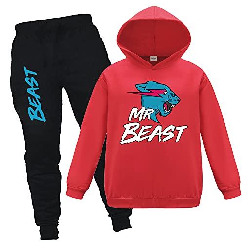 Famoso logotipo de YouTube Gamer Mr Beast Ripped Lightning Cat sudadera con capucha y pantalones, 2 unids/sets de pantalones y top chándal para niños niñas de 3 a 13 años, rosso, 12-13 años
