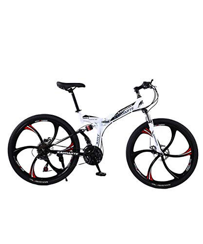 New Folding Mountain Bicycles 26 Inches for Adults, Carbon Steel Mountain Bike 21 24 27 Speed, Full Suspension MTB