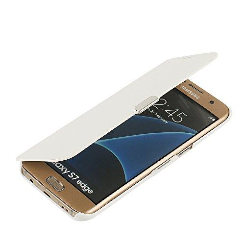 MTRONX para Funda Samsung Galaxy S7 Edge, Cover Carcasa Case Caso Ultra Folio Flip Cuero Delgado Piel con Cierre Magnetico para Samsung Galaxy S7 Edge - Blanco (MG-WH)
