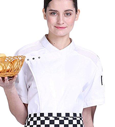 Dooxii Unisexo Hombre Mujeres Verano Manga Corta Camisa de Cocinero Transpirable Pastel para Hornear Chaquetas de Chef Uniforme Cocina Restaurante Occidental Blanco L