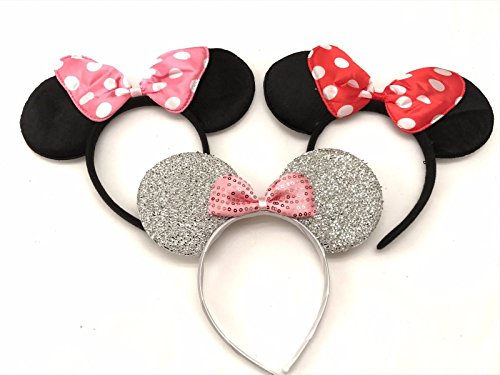 3 Minnie Mouse Black Red Pink Silver Bow-Mickey Mouse Ears Headband Costume