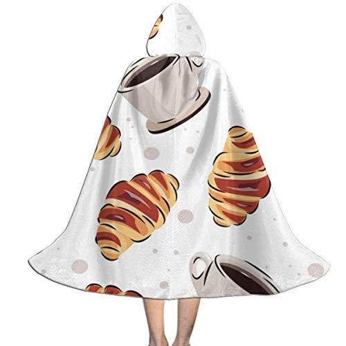 Amanda Walter Capa con Capucha para nios con diseo de caf y Croissant de Fasenix, Divertida y Larga, Navidad, decoracin de Halloween, Disfraz, Capa