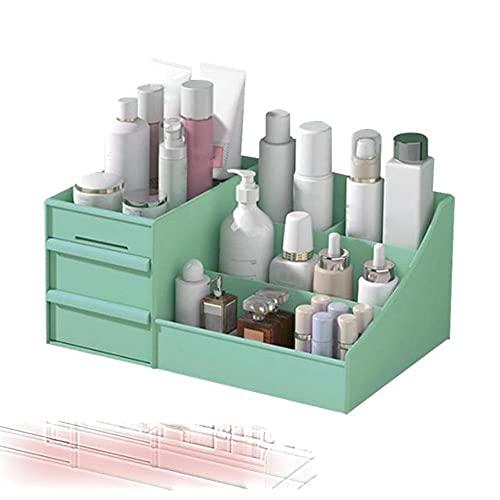 Caja de cosméticos Organizador de cajones de maquillaje Joyas de escritorio Esmalte de uñas Cajón de maquillaje Contenedor Caja de almacenamiento de artículos diversos de gran capacidad-Verde, ESPAÑA