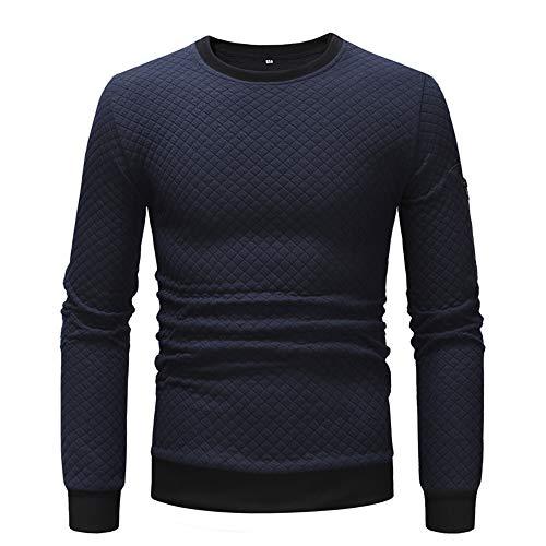 Herren Sweatshirt Diamant Textur Rundhals Langarm Sweatshirt Männer Shirt Sports Shirt Casual Einfarbig Pullover Herbst Winter Neu Tops Warm Oberteile XL