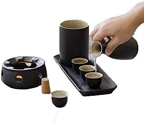 WQF Juego de 8 Piezas de Sake, Juego de Copas de Vino de Esmalte Negro con Olla de Calentamiento y Estufa de Vela, Textura pintoresca con Caja de Regalo, para Sake frío/Tibio/Caliente/shoc