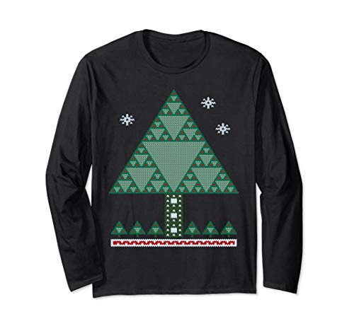 Sierpinski Fractal Christmas tree Math Long Sleeved T Shirt