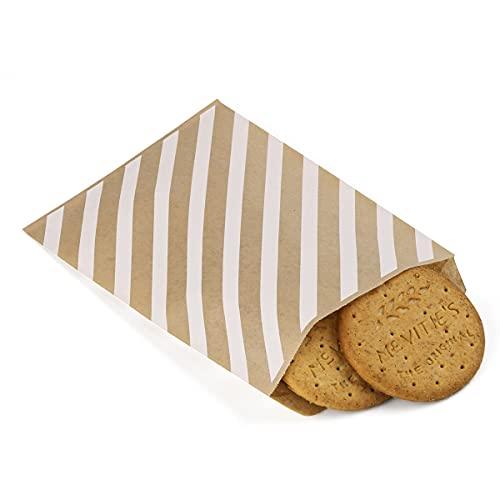 BagDream Bolsas de papel Kraft de 100 bolsas planas a prueba de grasa, bolsas de papel a prueba de grasa, bolsas de papel, bolsas de galletas, bolsas de palomitas de maíz, rayas marrones