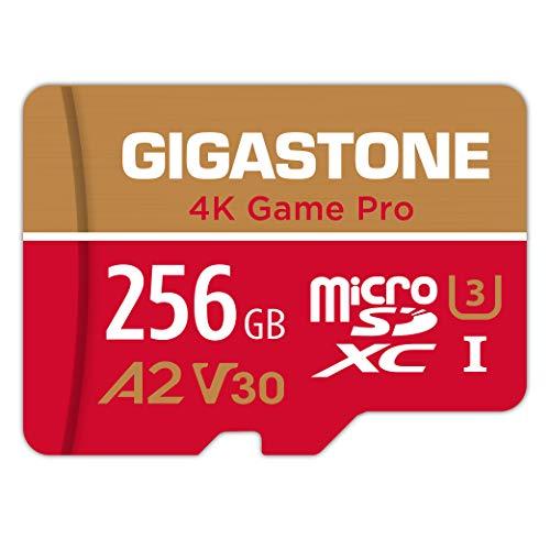 Gigastone Carte Mémoire 256 Go 4K Game Pro Série Idéal pour Nintendo Switch, Haute Vitesse allant jusqu'à 100 Mo/s. pour 4K UHD Vidéos Console de Jeu, A2 U3 V30 Carte Micro SDXC avec Adaptateur SD.