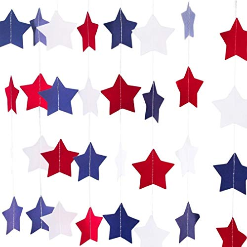 Bobee Star Garland 4th of July Decorations, 30 feet of Red White and Blue 3 inch Stars, 3 Strands (10 feet Each)