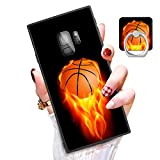 Someseed Samsung Galaxy S9 Case Galaxy S9 Case with Kickstand Ring Holder Duty Shock Absorbent Full Body Drop Protection Modern Black Marble Design Cover for Samsung S9 (Basketball)