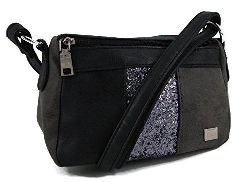 BERNARDO BOSSI moderne Glitzer Damentasche Tasche Schultertasche Umhängetasche Handtasche verschiedene Modelle STEFANO (M1 grau/schwarz)