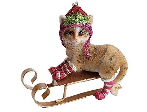 Gisela Graham katten abd kittens op een slee 10 Centimeter hars decoratie in 3 complimenterende ontwerpen