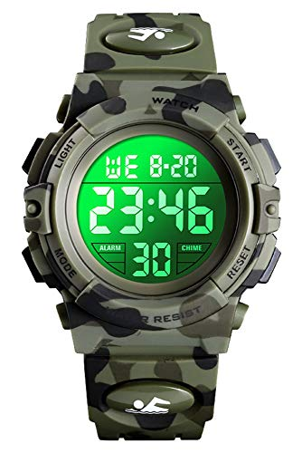 Kinder Uhr Digital Jungen Sport Outdoor 5 ATM Wasserdicht 5 Bar Digital Uhren LED Alarm Stoppuhr Kalender...