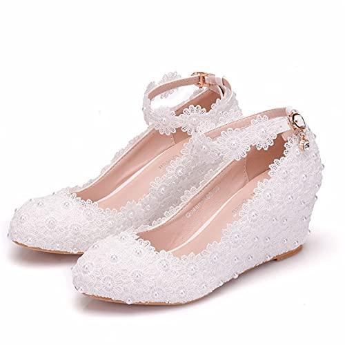 Zapatos de Novia, Tacones Altos de Encaje Blanco de 7 cm y...