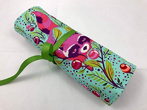 Jewelry Roll Organizer Storage Travel Roll Up - Raccoon Poppy Green