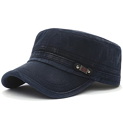 ZSQQ Sombreros Militares de algodón para Hombres, Mujeres, Gorras Planas, Gorro de Camionero de Hueso de Moda, Azul Oscuro
