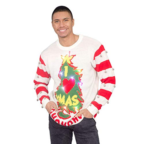 I Love Xmas HOHOHO Light Up (LED) and Bells on Sleeve Ugly Christmas Sweater White